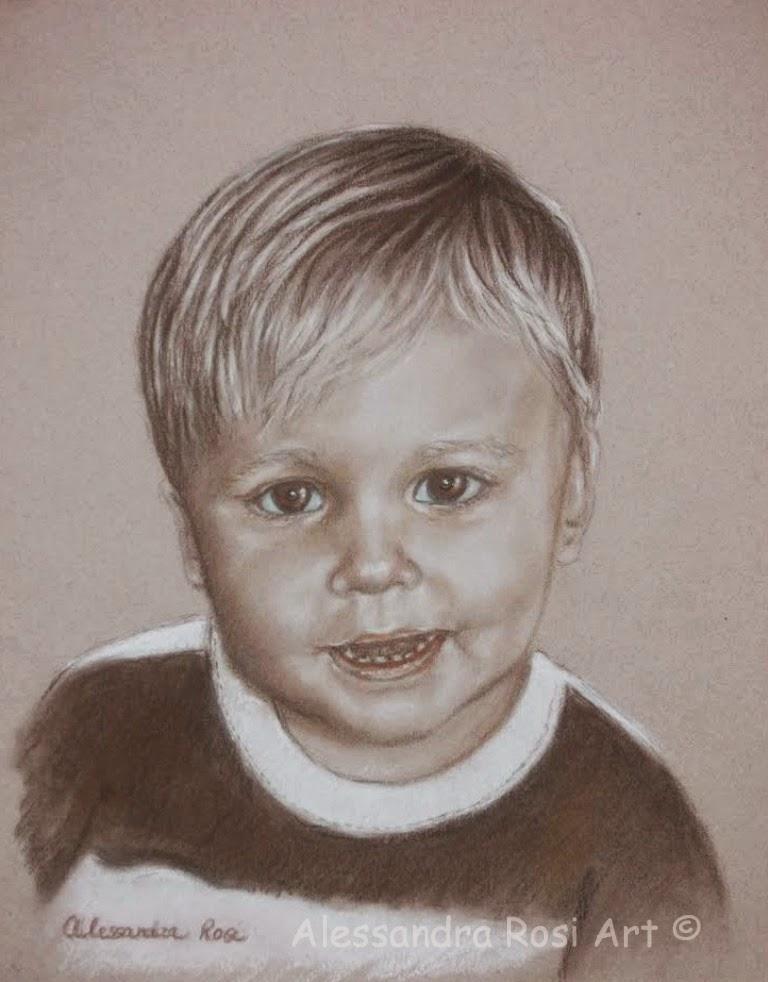 child portrait drawing, sepia pencil portrait