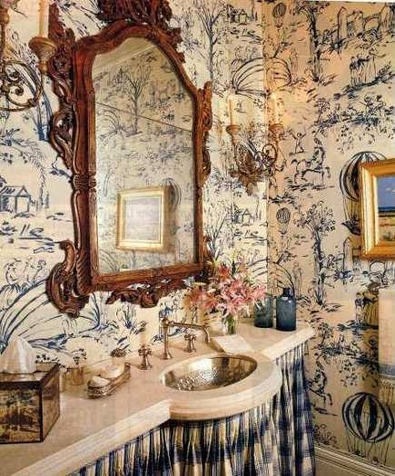 Bathroom Wallcovering French Toile Room Decor Bathroom