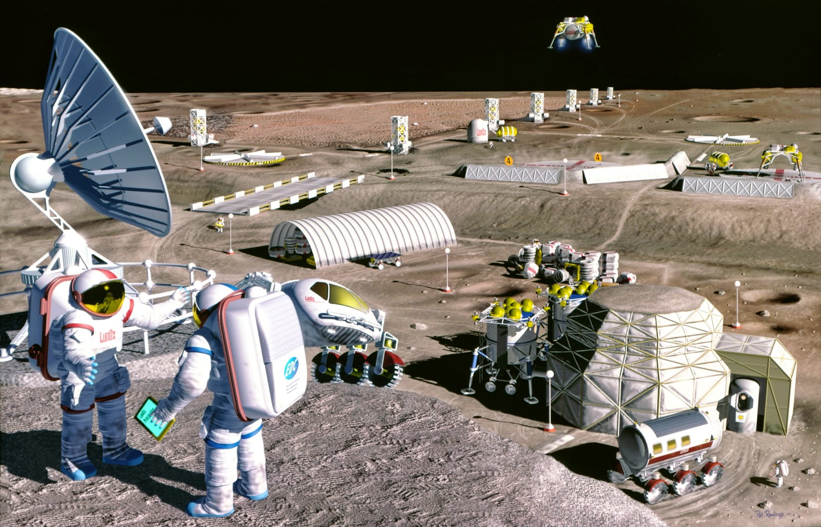 Representación de una colonia en la Luna