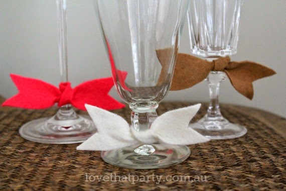 How to make your own cute little wine glass bow ties with free template. via Love That Party