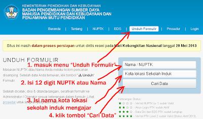Cara Download Formulir VerVal NUPTK 2013 - 1