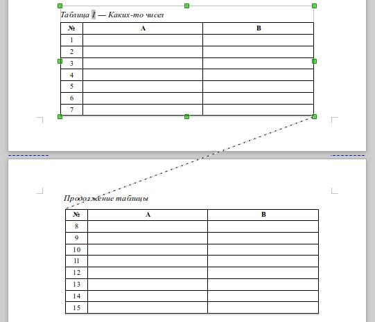 Как над таблицей сделать надпись продолжение таблицы в ворде