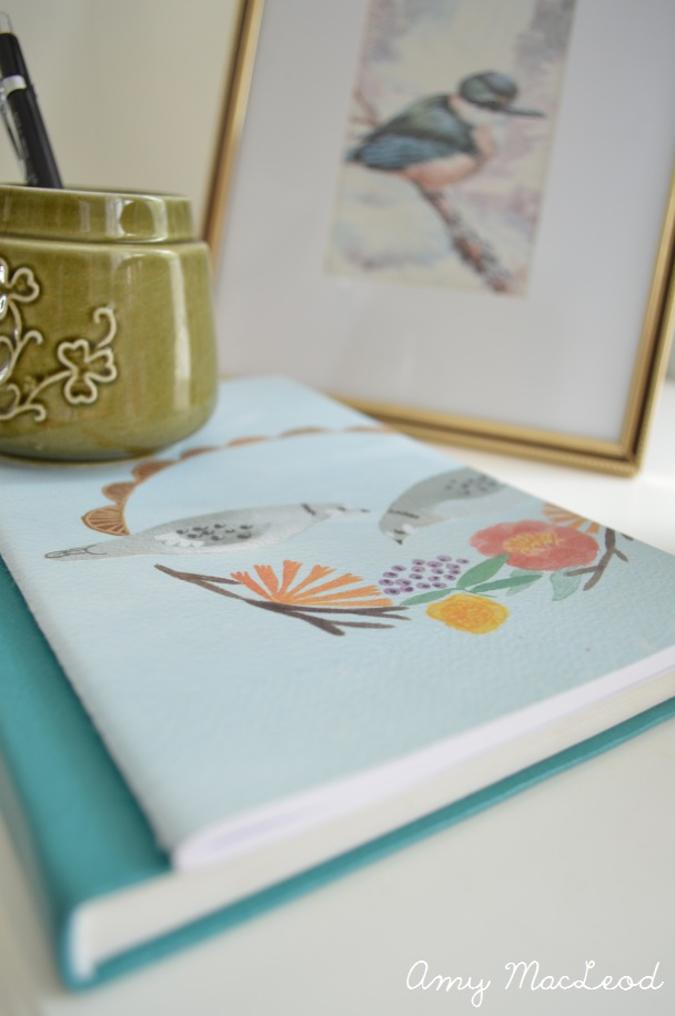 Bird print on bedside table