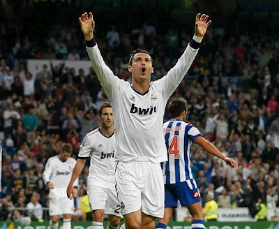 Cristiano Ronaldo celebrates a hat-trick against Deportivo