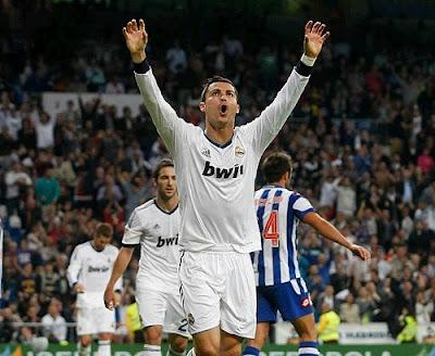 Cristiano Ronaldo celebrates a hat-trick against Deportivo