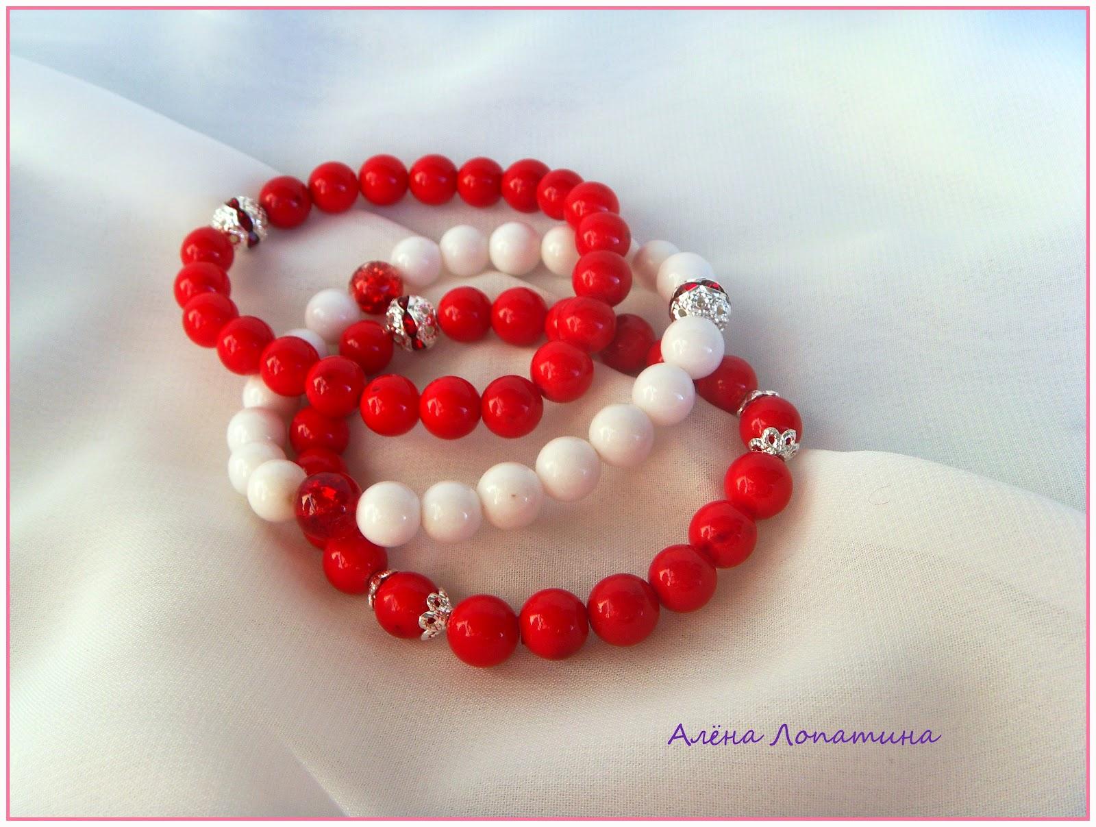 Красный браслет из камней своими руками