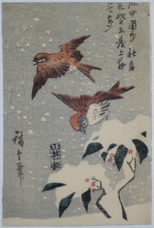 Japanese painting of flying sparrows