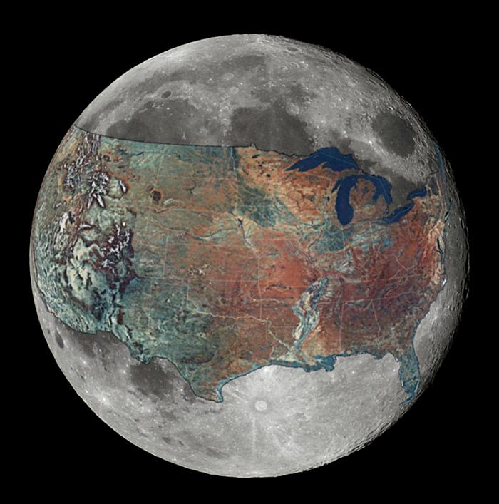 Map of Contiguous United States - Overlaid on the Moon