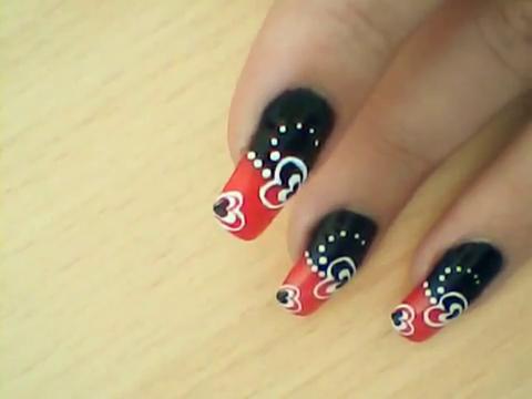 Manikir-obuka-tutorijal-3-(crveno-crni-nail-art-nokti)-015
