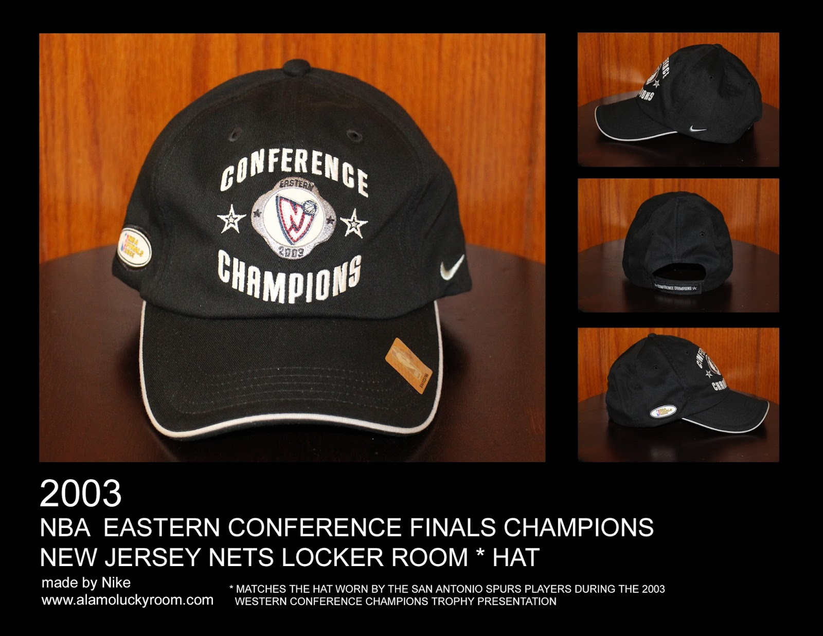 193704516d2 2003 New Jersey Nets NBA Eastern Conference Finals Champions Locker Room Hat