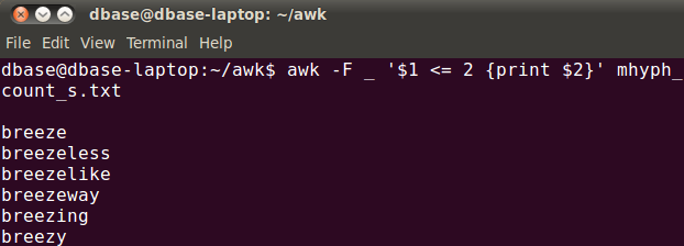 linux awk command