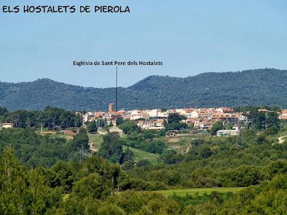 Els Hostalets de Pierola i la seva església de Sant Pere des de la Serra de Can Mata