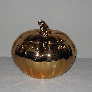 Create a Cinderella Wedding Centerpiece with these Golden Bronze Ceramic Pumpkin Floral Centerpiece Containers
