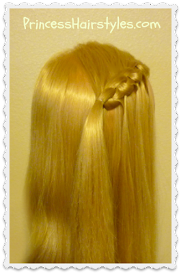 "Unique waterfall braid, the ""flip knot"""