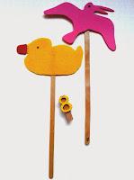 Marionetas de patito de goma y de gaviota ©Selene Garrido Guil