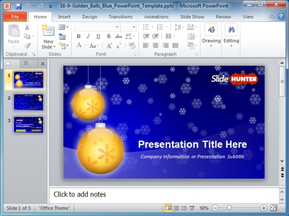Widescreen Golden Balls PowerPoint Template for Christmas