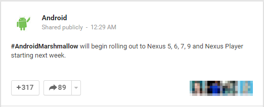 Androidmarshmallow Volition Laid Out Rolling Out To Nexus 5, 6, 7, Ix In Addition To Nexus Histrion Starting Side Past Times Side Week