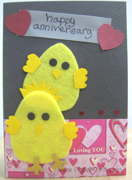 Two chicks handmade anniversary card