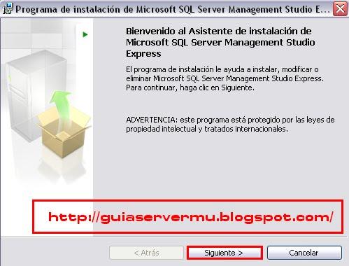 Programa de instalación de managemet studio express