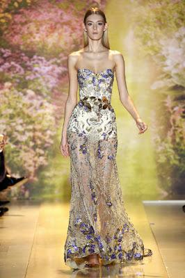 magnifique robe dentelle parme violet transparente brodé ceinture dorée défilé printemps été 2014Haute couture Zuhair Murad