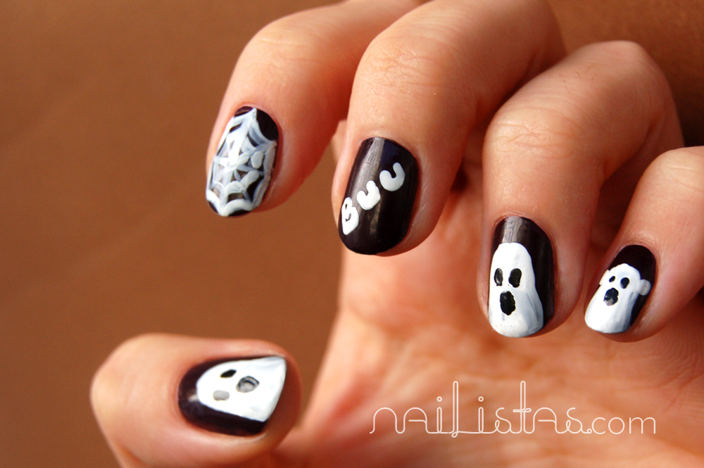 Manicura de HALLOWEEN \u0026gt;\u0026gt; Fantasmas en las uñas // Ghosts  nails