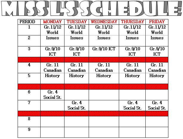 Miss L's Whole Brain Teaching: Student Teaching Schedule