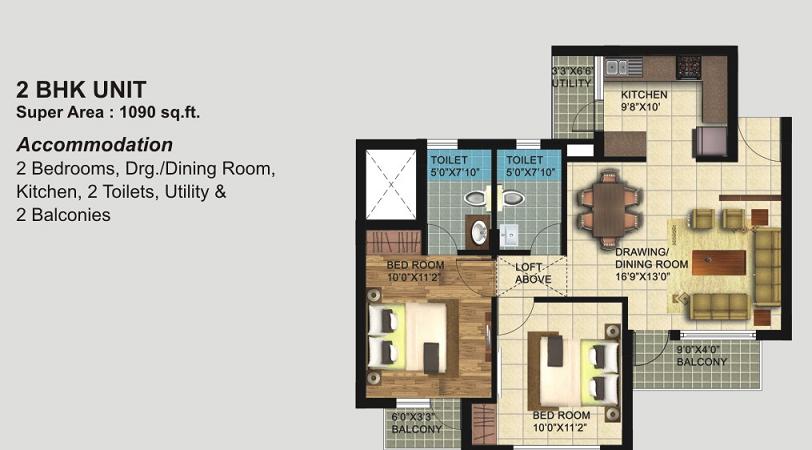 Paarth Republic Mega Township Floor Plans 1090 Sq Ft
