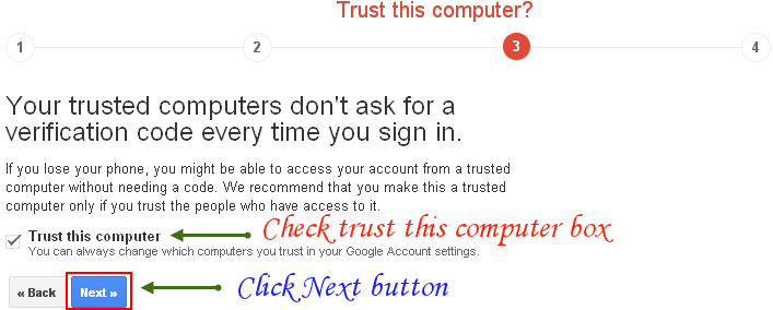 Google 2-Step Verification: Step 3 out of 4