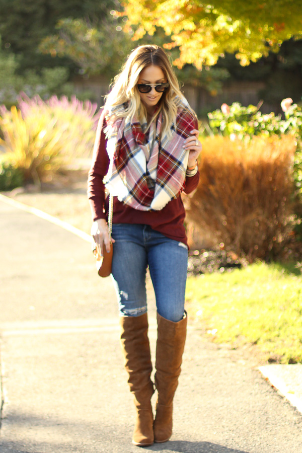 burgundy sweater cognac over the knee boots