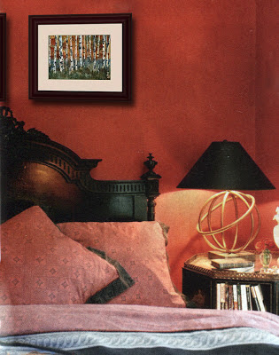 decorating ideas for bedrooms, red bedroom with tree art | read more on SchulmanArt.blogspot.com