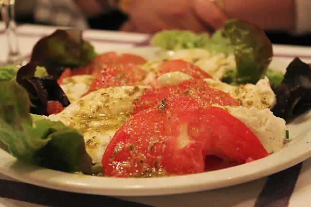 Tomato mozzarella salad at Auberge Pyrénées Cévennes