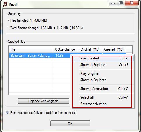 mp3 quality modifier result Meningkatkan Kualitas MP3 Dengan MP3 Quality Modifier
