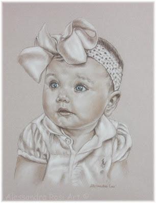 Child portrait painting, charcola sepia portraits of kids