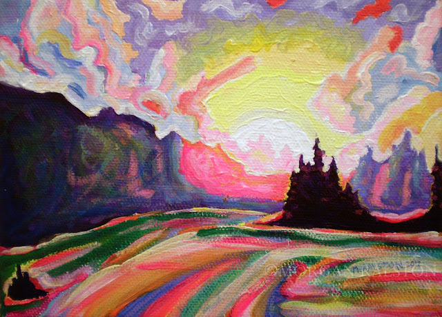 Bright multicolor abstract landscape painting by Morgan Ralston