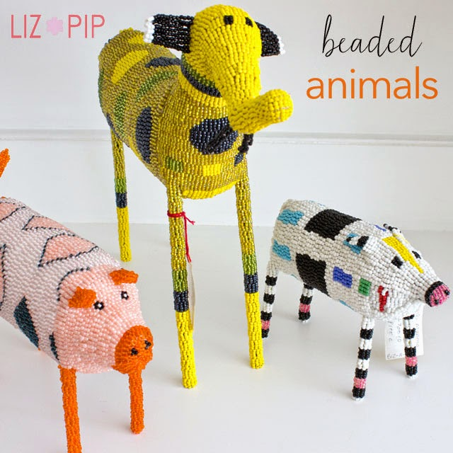 beaded animals art that makes a difference pig, elephant http://www.monkeybiz.co.za gifts liz and pip ltd