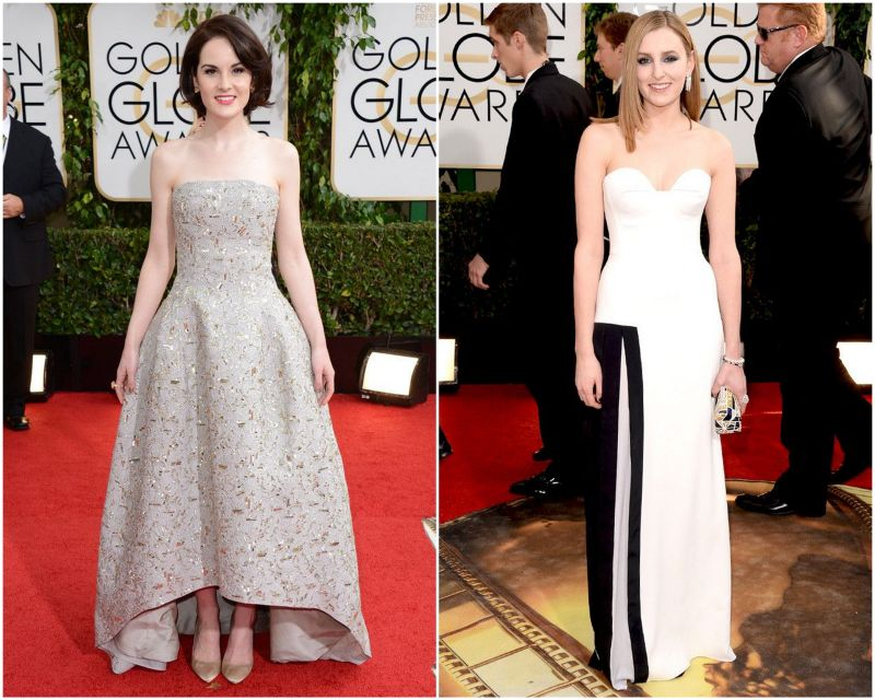 Michelle Dockery in Oscar de la Renta and Laura Carmichael in Viktor-and-Rolf dress at the 2014 Golden Globe Awards