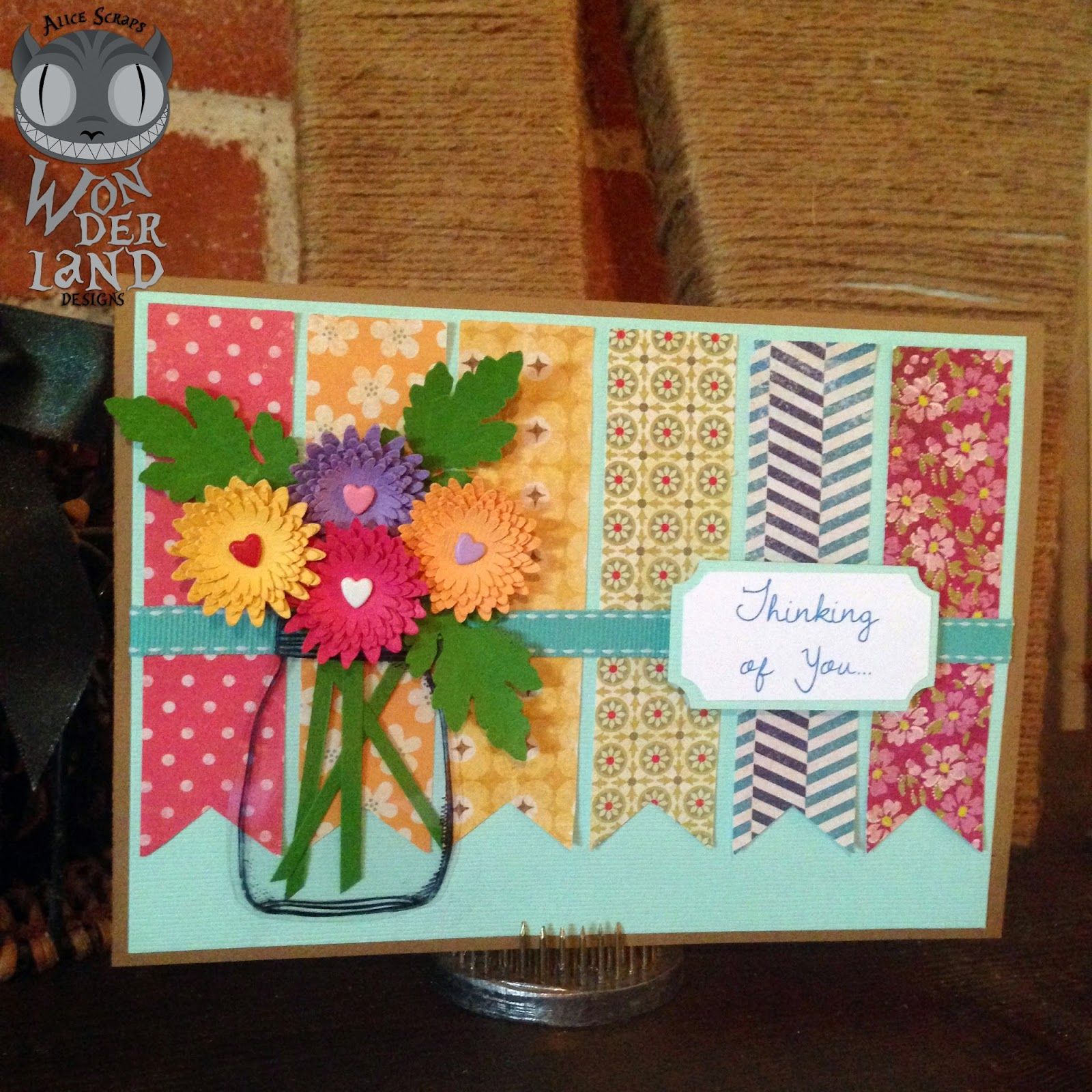 handmade card, scrapbooking, scrapbook, handmade, paper crafting, flowers, chrysanthemums, mums, brads, mason jar, acrylic, banner, pennants, rainbow, colorful, bright, sympathy card