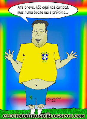 Ronaldo (fenômeno) se despede. Até breve do fenômeno (charge)