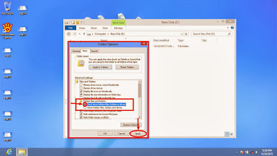 Learn how to disable show or don't show hidden files and folders in windows 8 step17