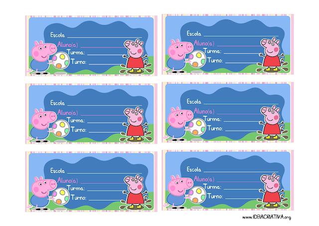 Etiquetas Identificação Material Escolar Peppa Pig