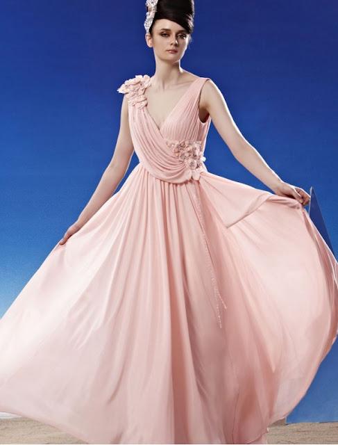 Silk Chiffon V-Neckline A-Line Stock Dress with Beaded Flower Embellishment