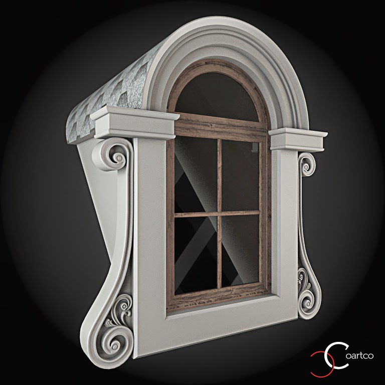 Ornamente Geamuri Exterior, Arcada fatade case cu profile decorative polistiren, profile fatada,  Model Cod: WIN-089