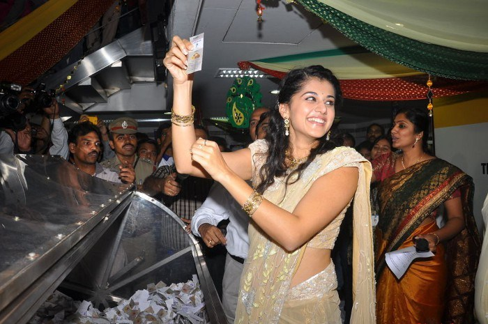 tapsee in saree at tmc electronics unseen pics
