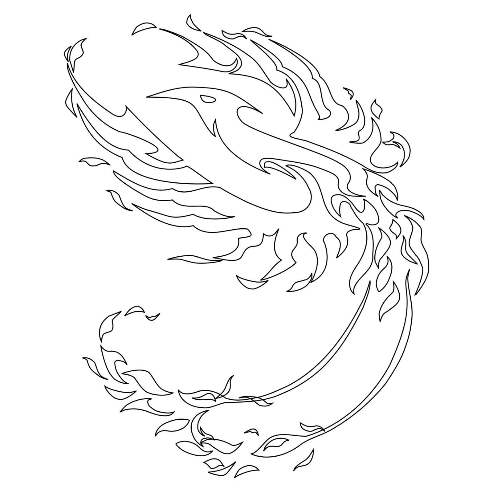 Phoenix off fire tattoo stencil