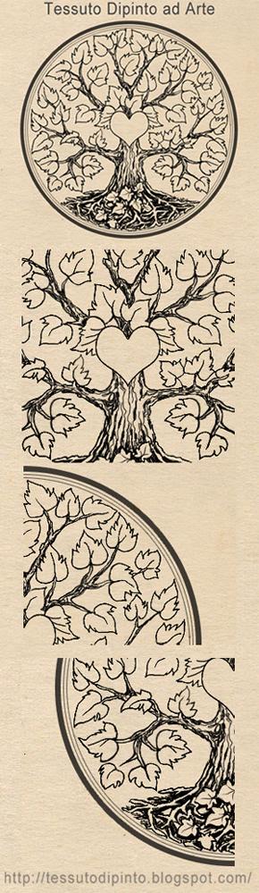 albero cuore con particolari del disegno grafico