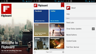 Flipboard for Android: all your news and social media feeds formatted in a beautiful magazine layout for easy viewing.