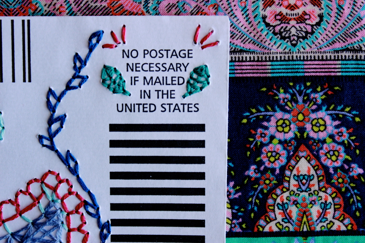 Mixed media style and art blog : hand-stitched embroidery art on paper envelops inspired by bohemian and ethnic patterns.
