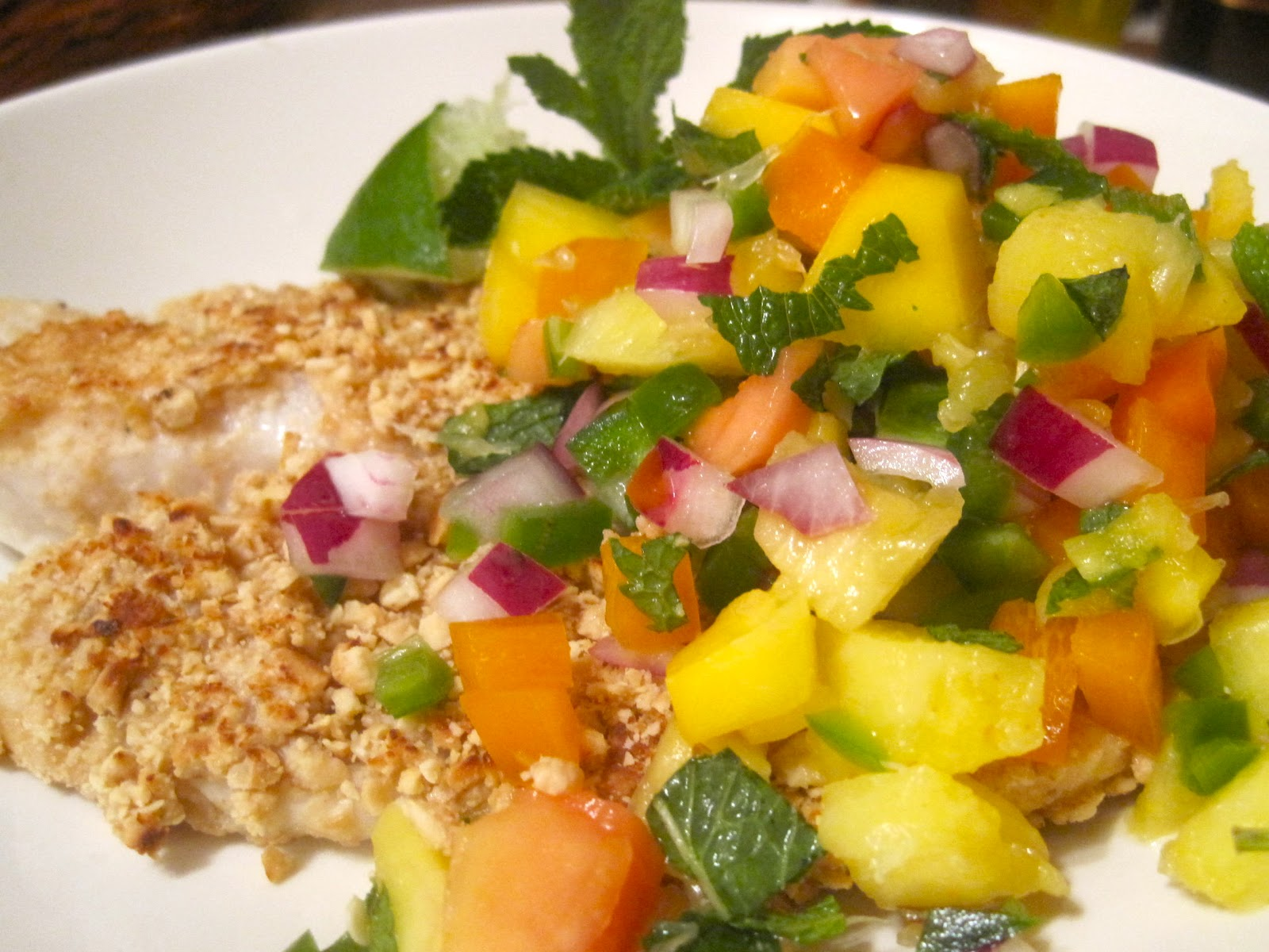 Kvell in the Kitchen: Macadamia-Crusted Tilapia with Papaya Salsa