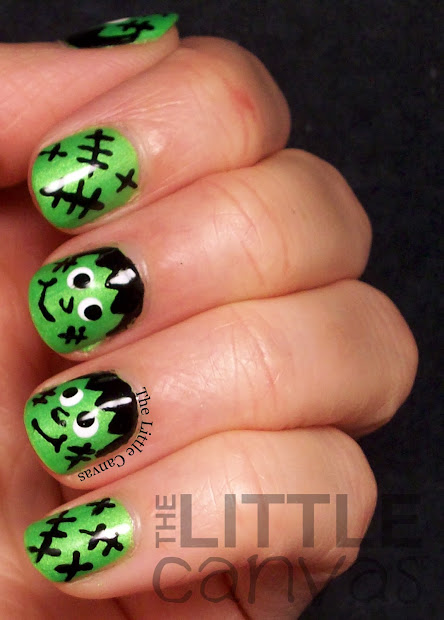 frankenstein nail art - little