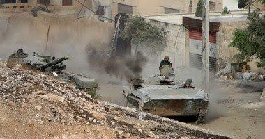 قوات بشار الاسد تلقي 40 برميل متفجرات علي داريا اليوم